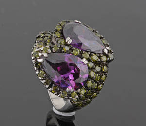 Sterling Silver Amethyst ring  approx. 5.00ct