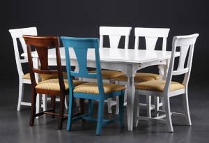Spisebord med udtræk med seks stole. 8