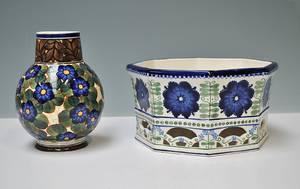 Alumina. Frugtskål samt vase af fajance2