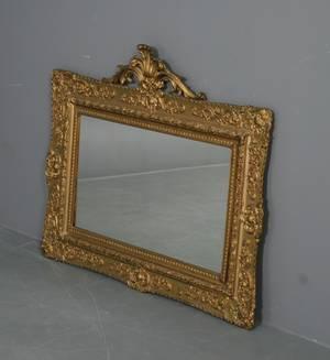 Spejl med ramme af forgyldt træ, Rokoko form