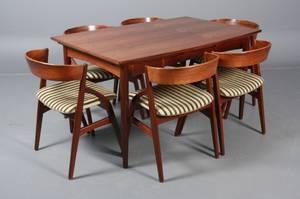 Kai Kristiansen f. 1929. Seks stole samt bord. Palisander. 7