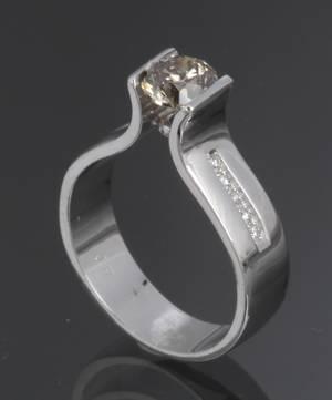 Diamant Solitairering ca. 1,08 i alt