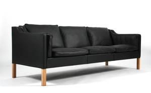 Børge Mogensen. Tre-pers. sofa, model 2213, læder