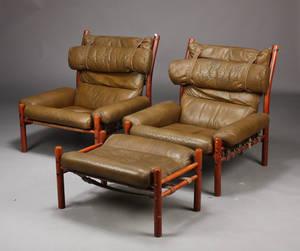 Arne Norell. Par lænestole samt skammel, model Inca 3