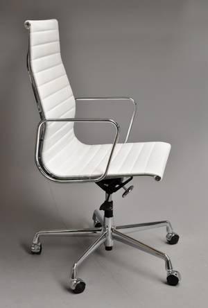 Charles Eames. Kontorstol, Model EA-119 hvid læder