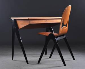 Yngve Ekström, ESE-Möbler. Damskrivbordsminkbord med stol 2