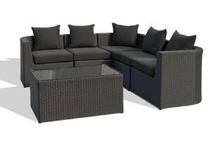 Havemøbler. Hjørnesofa med bord, sort polyrattan6