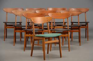 Farstrup møbelfabrik 10 stole i teakbøg, 1960erne 10