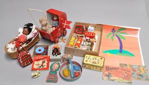 Samling legetøj, diverse dukker mm
