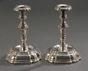Par barokform stager af sølv 2