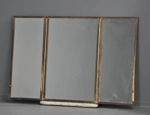 Trefløjet spejl i bronzeramme, vægophæng medfølger, 1900-tallet