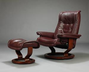 Stressless, lænestol samt skammel, brunt skind 2