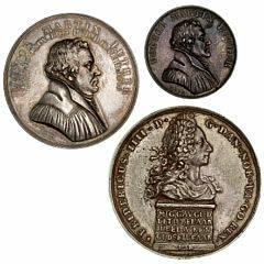 Frederik VI, medaille Reformationsfesten 1817, Martin Luther, Ag, 37 mm, Loos, Bgs 83 samt tilsvarende 1817, Ag, 25 mm, Loos, Bgs 87