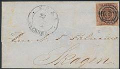 1851. 4 RBS Ferslew. Smukt lille brev fra AALBORG med stumt stempel, sendt til Skagen.