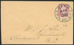 USA. 1863. George Washington. 3 c. karmin. LUXUS-brev, annulleret med perfekt BY-STEMPEL WASHINGTON D.C. MAR 20.1863.