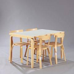 Alvar Aalto Spisestue af birk bestående af bord samt fire stole. Bordtop og sæder med hvid laminat. Udført hos Artek, Finland. 5