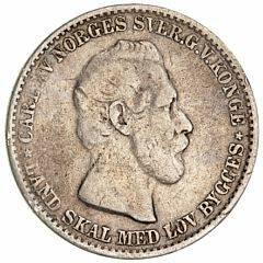 Norge, Carl XV, 12 skilling 1865, NM 16, H 8