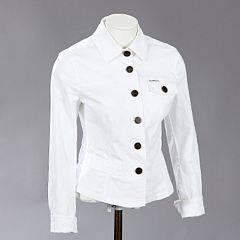 83597303 Armani Jeans Hvid jakke med krave og knapper i bomuld. L. ca. 55