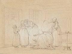 Julius Exner Interiør fra Sjælland, hvor rekonvalscenten er i bedring. Sign. Exner 1866. Bly og pen på papir monteret på papir. Bladstørrelse 23 x 31.