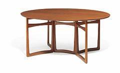 Peter Hvidt, Orla Mølgaard-Nielsen Ovalt spisebord af teak med nedklappelige ender. Udført hos France  Søn.