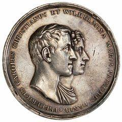 Frederik VI, Prins Frederik og prinsesse Wilhelminas bryllup, 1828, Conradsen, B 104, kantskader, ex. Hasle