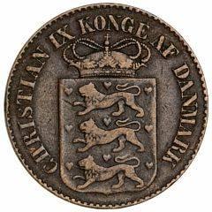 Dansk Vestindien, Christian IX, 1 cent 1879, H 28, lille ks.