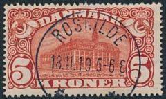 1915. 5 kr. Posthus, brunrød. Vm.IV. LUXUS-stempel ROSKILDE 18.11.19.