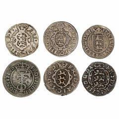 Frederik III, 2 skilling 1648, 1648, 1655, 1658, 1665, 1667, H 122B, 124, 126B, 132, 138A, 140C, Aagaard 4, 12b, 34a, 46, 67, 87a, i alt 6 stk.