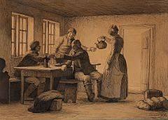 Julius Exner Sømændene skåler. Interiør fra Fanø. Sign. Exner 1879. Pen på papir monteret på papir. Bladstørrelse 23 x 31.