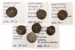 Lille lot parthiske mønter ca. 123 BC - 228 AD, nogle dateret, i alt 7 stk.