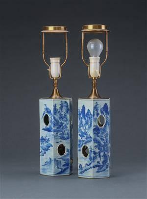 Par kinesiske bordlamper, porcelæn, 1800-tallet