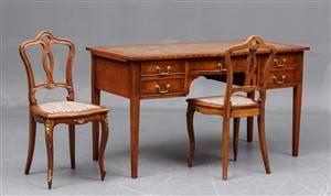 Engelsk skrivebord samt par stole, mahogni 3