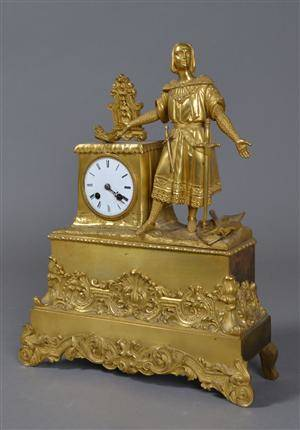 Fransk kaminur af forgyldt bronce, 1800-tallets slutning