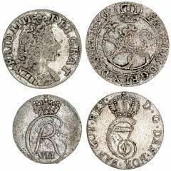 Norge, Frederik IV, 8 skilling 1730, NM 41, H 17C, Christian VII, 4 skilling 1788, NM 74, H 15B,  2 skilling 1803, NM 89, H 18A samt Glückstadt, 8 skilling 1711