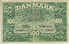 100 kr 1959 t, nr. 0136924, Riim  A. Hansen, Sieg 126, Pick 39, meget sjældent litra