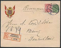 1903. 25 øre, grågrøn. Vm.III og 10 øre, Våben, rød, tk.12. Dekorativt anbefalet brev sendt til Tyskland.