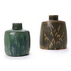 Eva Stæhr-Nielsen To vaser af glaseret stentøj. 2