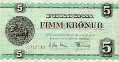 Færøerne, 5 kr u. år. 1955, N. Elkær-Hansen  Kr. Djurhuus, Sieg 22B, pick 13