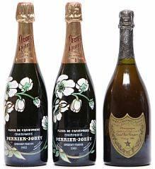 2 bts. Champagne Belle Epoque, Perrier-Jouët 1983 AB ts.  etc. Total 3 bts.