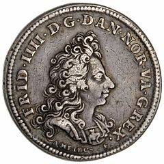 Frederik IV, kastemønt til salvingsfesten, 1700, Meybusch, 7,45 g, Ag, G 191, blanketfejl