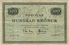 Færøerne, 100 kr 1952, nr. 0336737, N. Elkjær-Hansen  Kr. Djurhuus, Sieg 20, Pick 15b