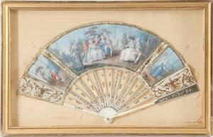 Inramad solfjäder, rokoko, 1700-tal