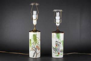 To kinesiske bordlamper, porcelæn 2