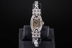 Fransk Art Deco diamant damearmbåndsur af hvidguld 18 kt. 1920erne.