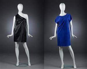 1dc556c4 Jimmy Choo for H&M, kjole af sort læder samt en af ruskind, ca. Str. 36/38  (2)