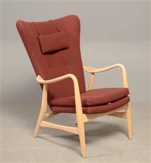 Arne Vodder, tilskrevet, lænestol af bøg m. uld