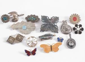 Smycken 14 delar, mestadels silver