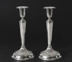Ljusstakar ett par, silver, empirestil, KEC, 1971