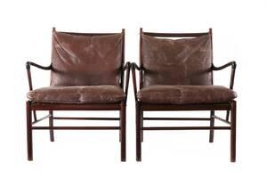 Karmstolar ett par, Colonial Chair, Ole Wanscher för Poul Jeppesen, Danmark
