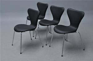 Arne Jacobsen. Fire stole syveren, model 3107, nybetrukket med sort læder 4